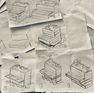 4 Hochbeete Bank längs, AG Kita Kollerknirpse Skizze